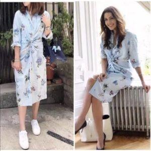 740d856f568 Zara Dresses - NWT Zara Floral Striped Front Knot Shirt Dress